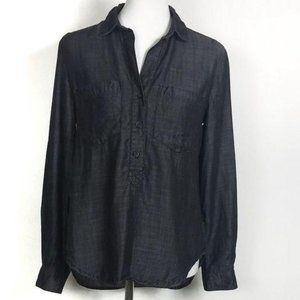 Cloth And Stone Chambray Dark Wash Pop Over Blouse